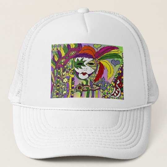 Psychedelic Mardi Gras Feather Masks Gifts Apparel Trucker Hat