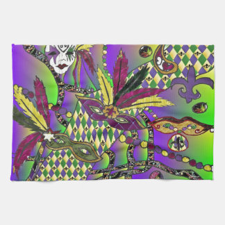 Psychedelic Mardi Gras Feather Masks Hand Towel