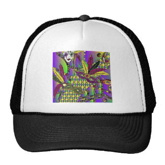 Psychedelic Mardi Gras Feather Masks Mesh Hats