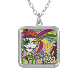 Psychedelic Mardi Gras Feather Masks II Necklace
