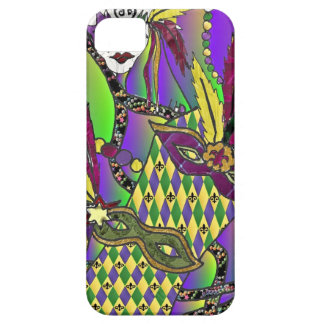 Psychedelic Mardi Gras Feather Masks iPhone 5 Cover