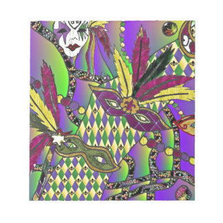 Psychedelic Mardi Gras Feather Masks Memo Notepads