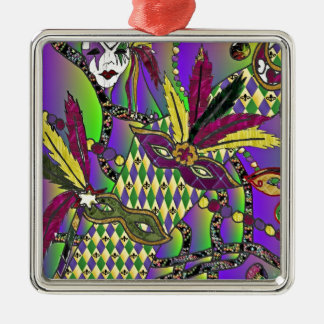 Psychedelic Mardi Gras Feather Masks Metal Ornament