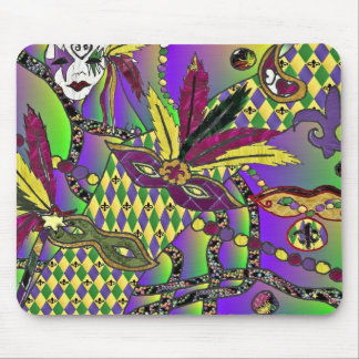 Psychedelic Mardi Gras Feather Masks Mouse Pad