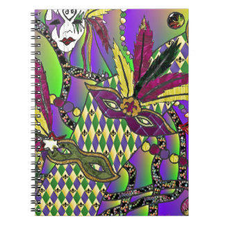 Psychedelic Mardi Gras Feather Masks Notebooks