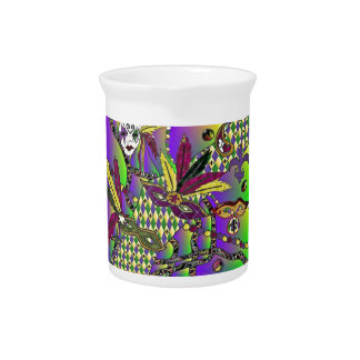Psychedelic Mardi Gras Feather Masks Pitcher