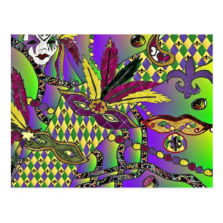 Psychedelic Mardi Gras Feather Masks Postcard