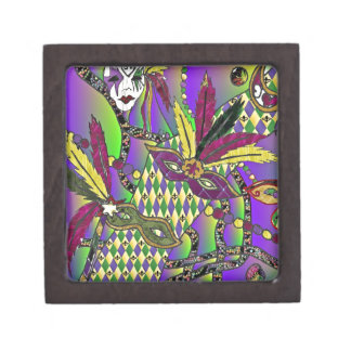 Psychedelic Mardi Gras Feather Masks Premium Trinket Boxes