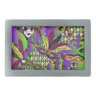 Psychedelic Mardi Gras Feather Masks Rectangular Belt Buckle