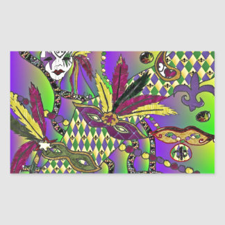 Psychedelic Mardi Gras Feather Masks Rectangular Sticker