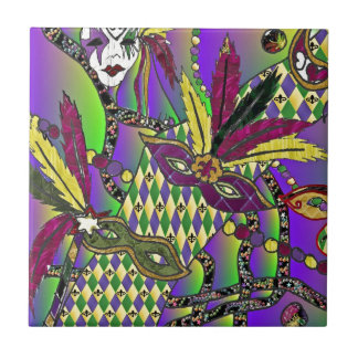 Psychedelic Mardi Gras Feather Masks Small Square Tile