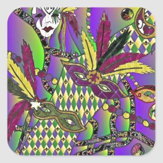 Psychedelic Mardi Gras Feather Masks Square Sticker