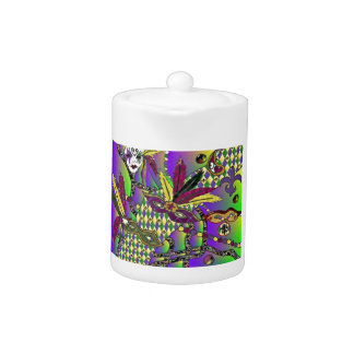 Psychedelic Mardi Gras Feather Masks Teapot