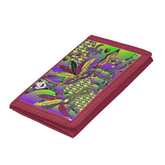 Psychedelic Mardi Gras Feather Masks Trifold Wallet