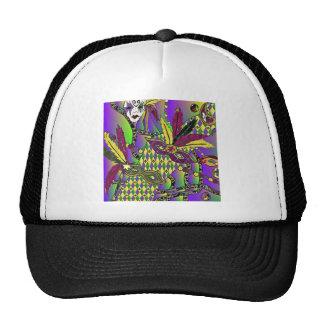 Psychedelic Mardi Gras Feather Masks Trucker Hat