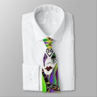Psychedelic Mardi Gras Mask Art Print Neck Tie