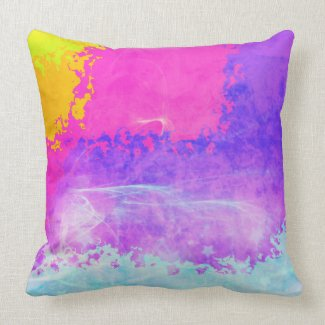 Psychedelic Mist Purple Sparkle Stars Abstract Throw Pillow