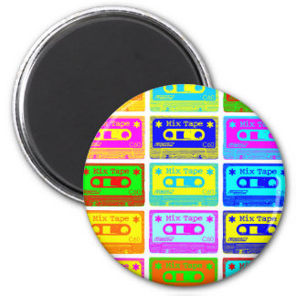 Psychedelic Mix Tape 2 Inch Round Magnet