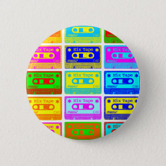 Psychedelic Mix Tape Pinback Button