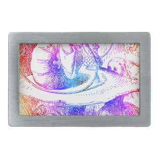 Psychedelic Mushroom Alice's Adventures Wonderland Rectangular Belt Buckle