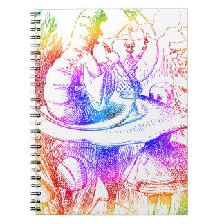 Psychedelic Mushroom Alice's Adventures Wonderland Spiral Notebook