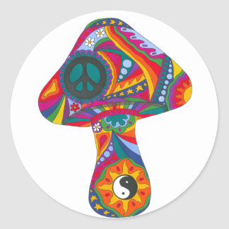 Psychedelic Mushroom Classic Round Sticker