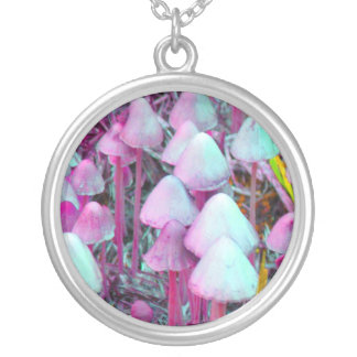 Psychedelic Mushrooms Silver Plated Necklace