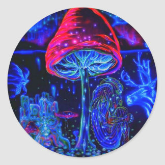 Psychedelic Mushroon blue moon Classic Round Sticker