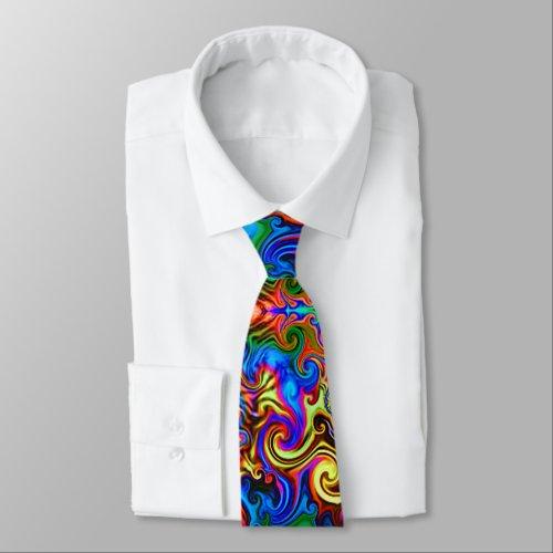 psychedelic neck tie neon rainbow improved design