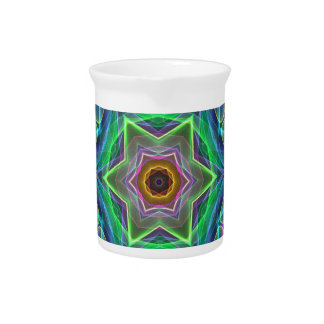 Psychedelic Neon Cool Modern Star Shapes Drink Pitcher