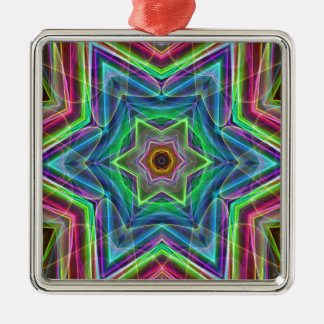Psychedelic Neon Cool Modern Star Shapes Metal Ornament