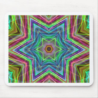 Psychedelic Neon Cool Modern Star Shapes Mouse Pad