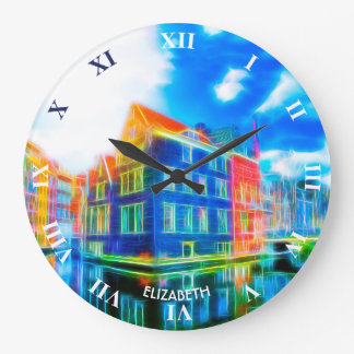 Psychedelic Neon Fractal Glowing View Of Amsterdam Large Clock