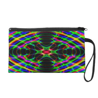 Psychedelic Neon Laser Light Abstract Wristlet Purses