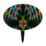 Psychedelic Neon Laser Light Abstract Cake Toppers