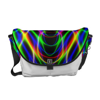 Psychedelic Neon Laser Light Abstract Messenger Bag