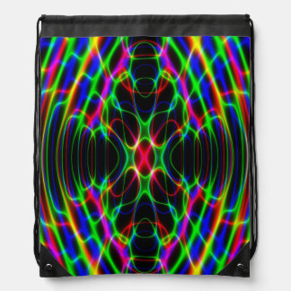 Psychedelic Neon Laser Light Abstract Drawstring Backpacks