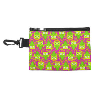 Psychedelic Neon Owl Pattern Accessory Bag