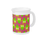 Psychedelic Neon Owl Pattern Beverage Pitcher