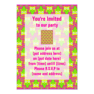 Psychedelic Neon Owl Pattern Card