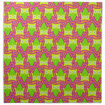Psychedelic Neon Owl Pattern Cloth Napkin