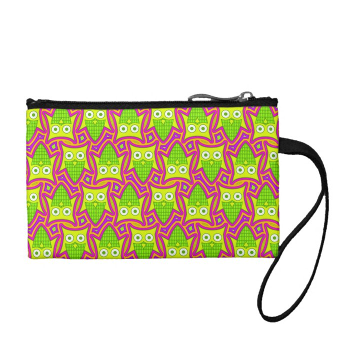 Psychedelic Neon Owl Pattern Coin Purse