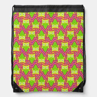 Psychedelic Neon Owl Pattern Drawstring Bag