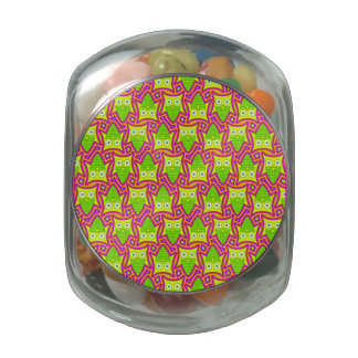 Psychedelic Neon Owl Pattern Glass Candy Jar