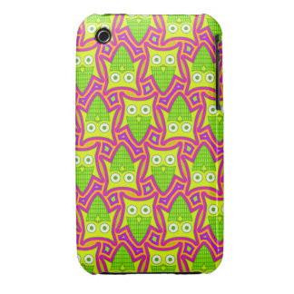 Psychedelic Neon Owl Pattern iPhone 3 Case-Mate Case