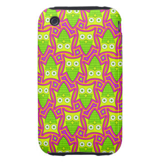 Psychedelic Neon Owl Pattern iPhone 3 Tough Case