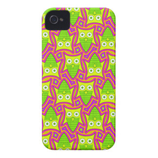 Psychedelic Neon Owl Pattern iPhone 4 Cover