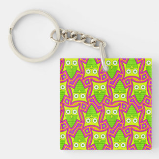 Psychedelic Neon Owl Pattern Keychain