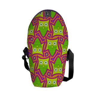 Psychedelic Neon Owl Pattern Messenger Bag