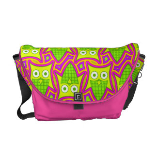 Psychedelic Neon Owl Pattern Messenger Bags